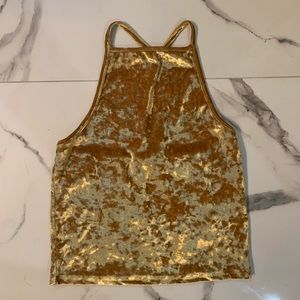 UO Yellow Gold Crushed Velvet Tank
